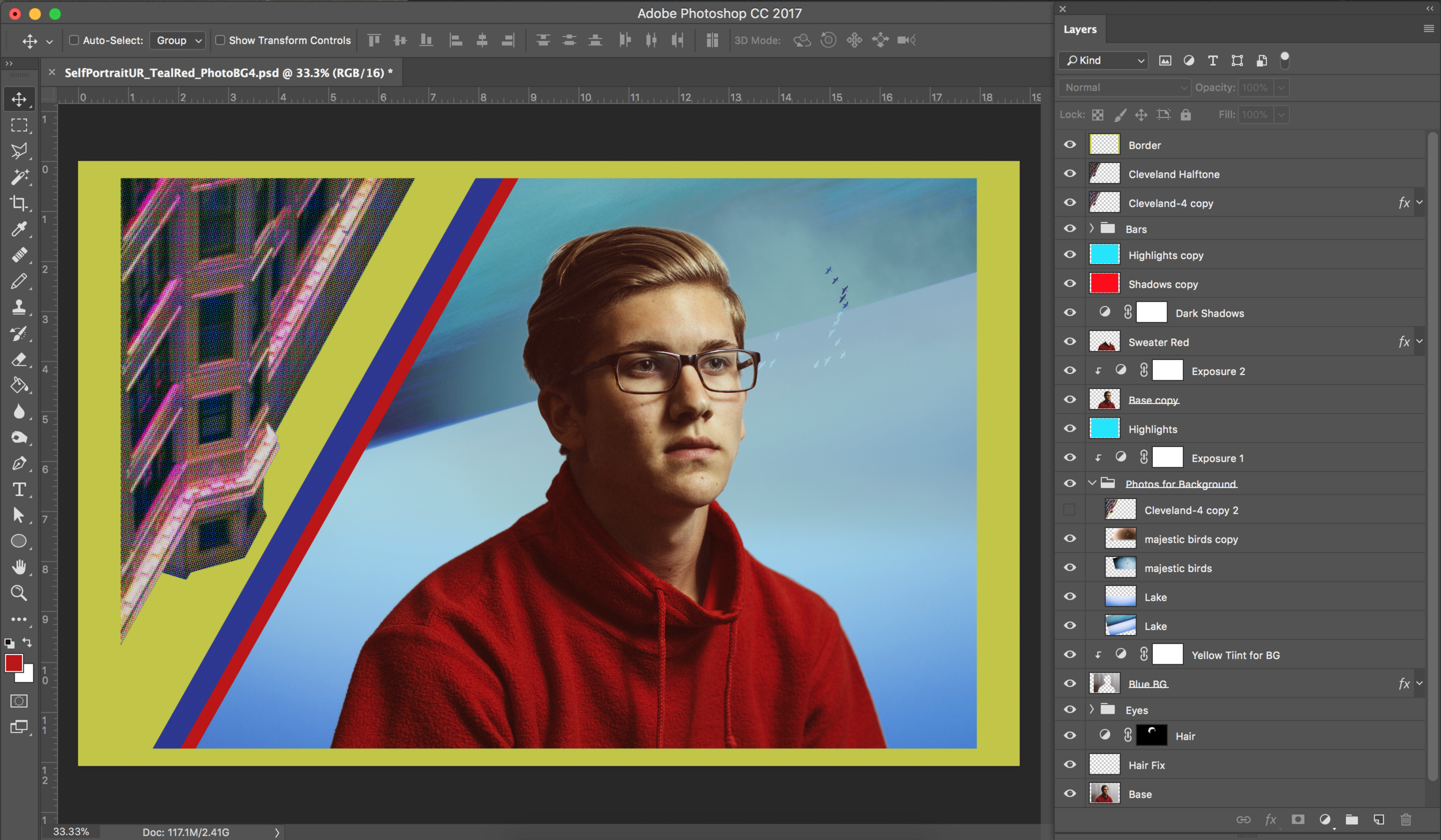 Final photo with layers and folders shown in Adobe Photoshop