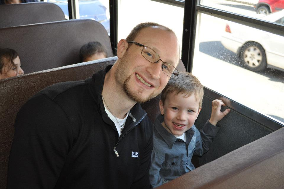 Riding the bus to school with my dad