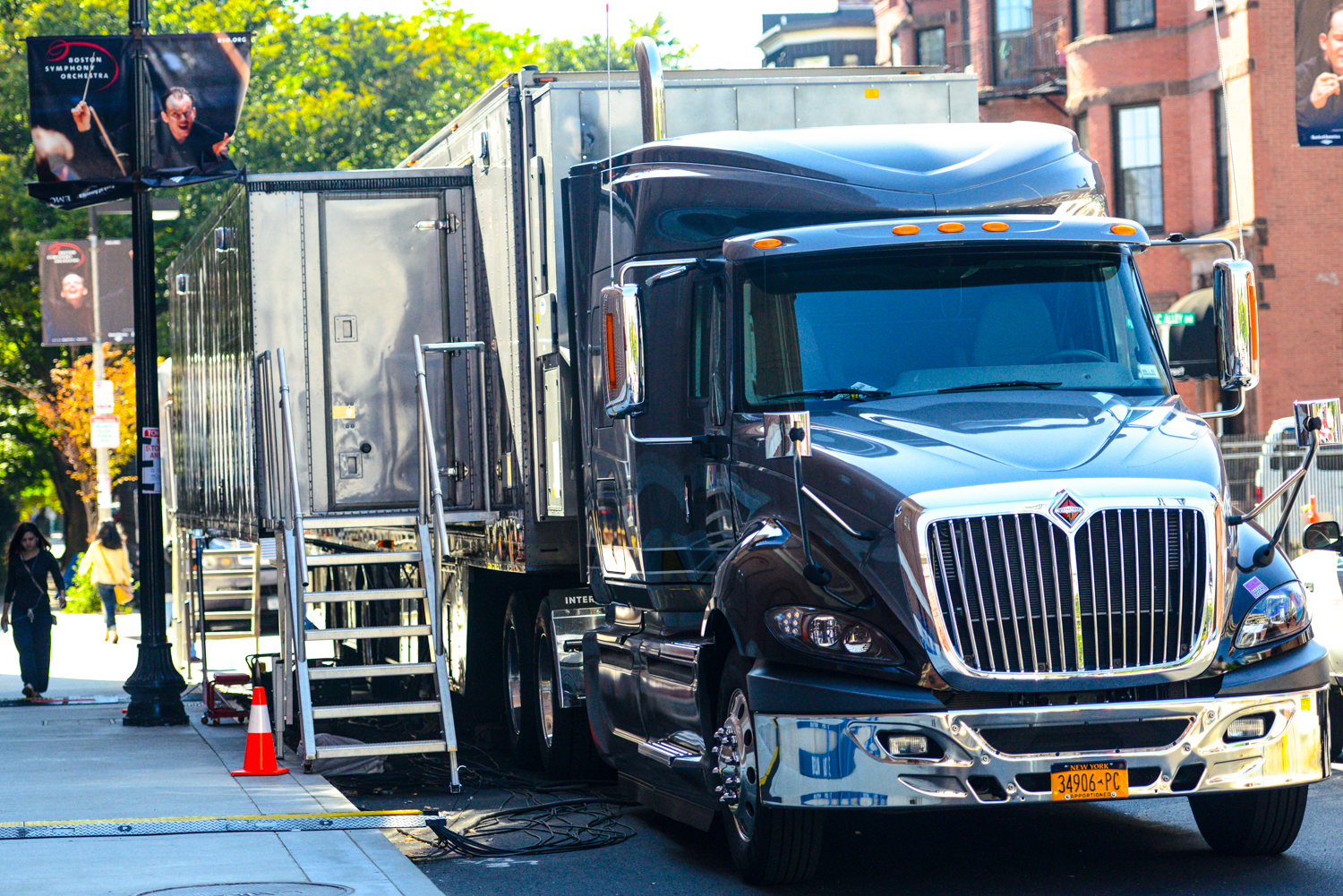 One of two semi trucks with many many cables coming out of them to run television recording at Symphony Hall this week.