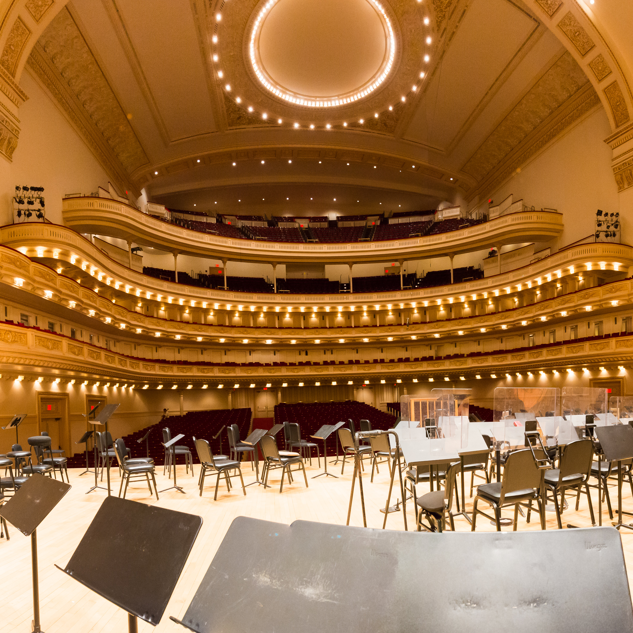 At Carnegie Hall - the view from the Principal Trombone chair prior to the BSO sound check.