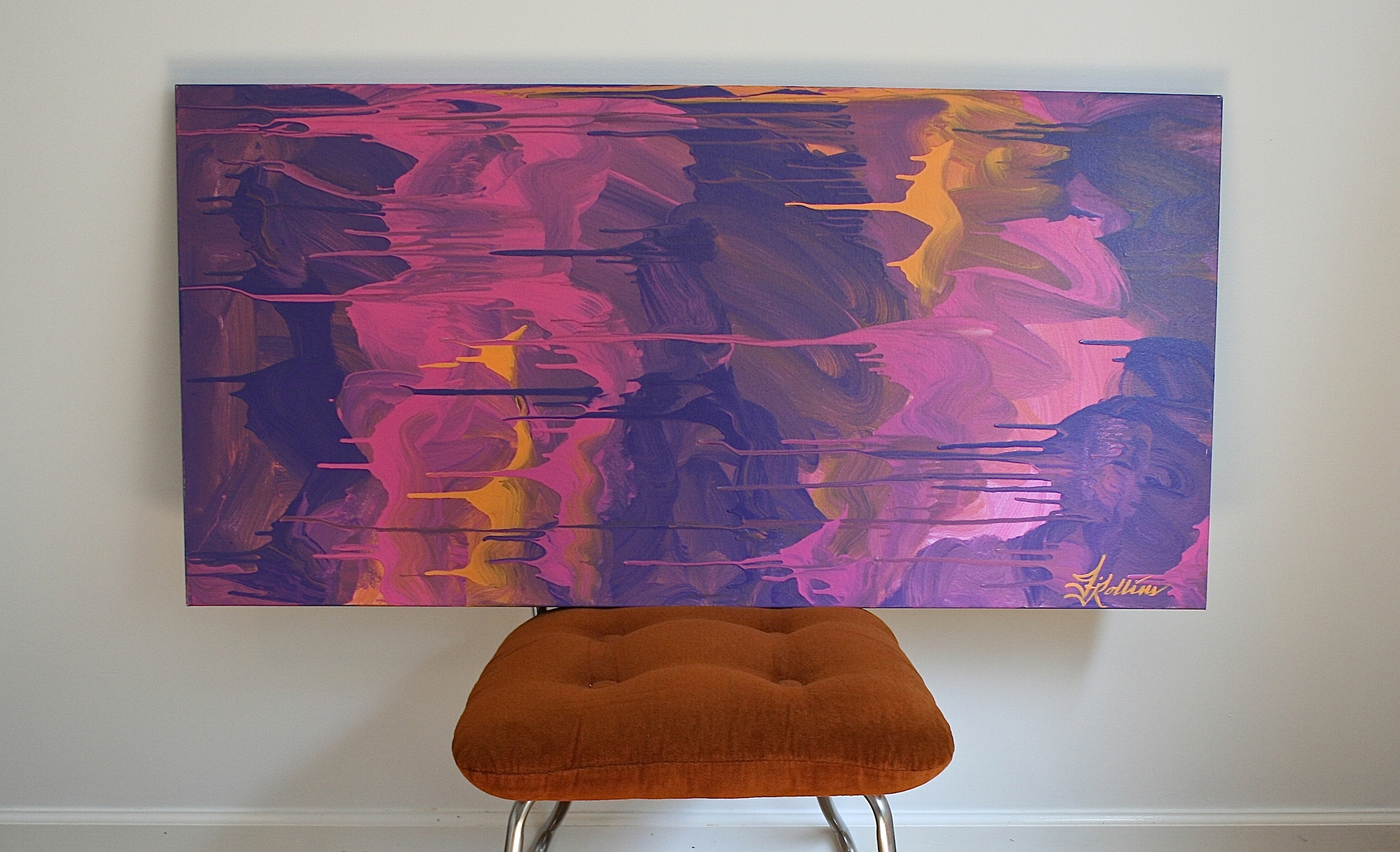 """Pink Autumn""    {24""x48""  acrylic on canvas}    by Jessica Rollins"