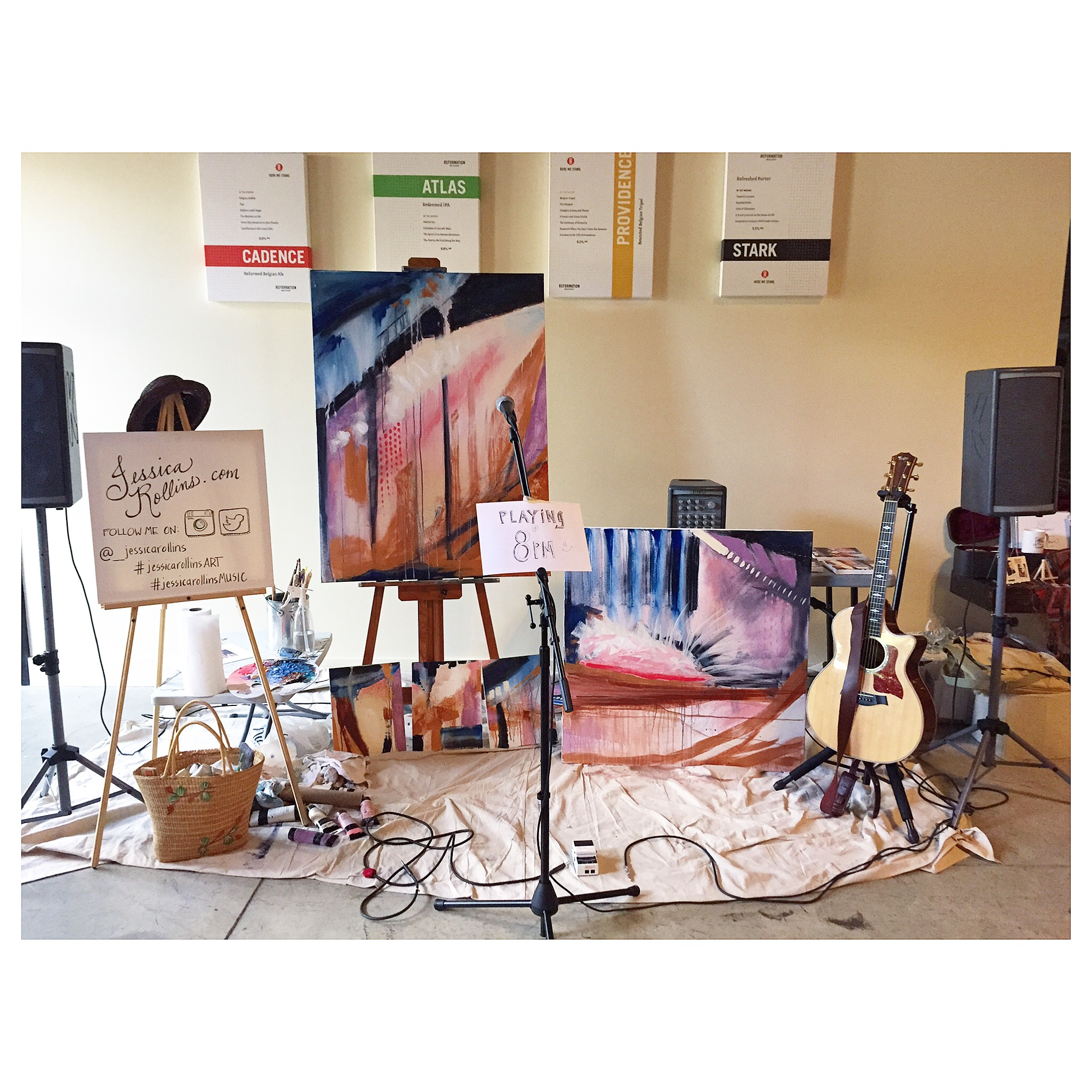 After my LIVEpainting, I did a little live music set.  My little set up.  Playing at 8:)