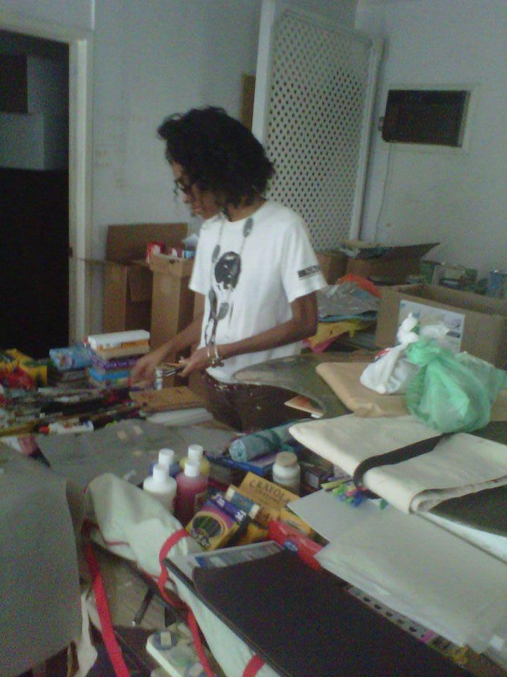 Jordia Benjamin, sorting Art Supplies at NAGB.