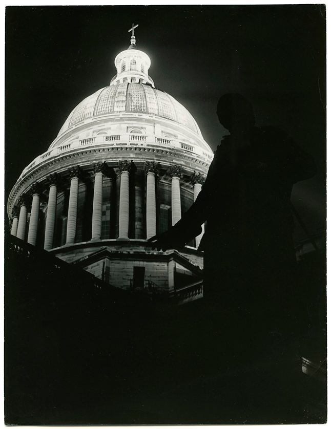 Untitled [Pantheon, Paris at night],   1930s. Vintage Gelatin Silver Print, printed ca. 1930s. Image measures 9 1/16 x 6 15/16 inches. Inventory #C1437.  Terms  |  Inquire
