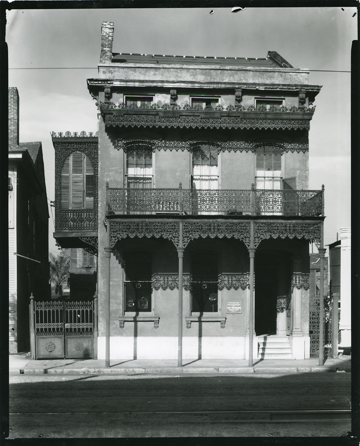House with Cast Iron Grill Work, New Orleans,   1935. Gelatin silver print, printed ca. 1960. Image measures 9 1/2 x 7 1/2 inches. Inventory #C0407.  Terms     Inquire
