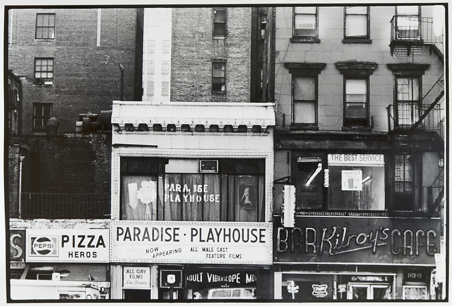 Untitled [New York, Paradise Playhouse],   1973. Vintage Gelatin Silver Print. Credit stamp on back with negative number in pencil. Image measures 8 3/4 x 13 inches. Inventory #C0823.  Terms  |  Inquire