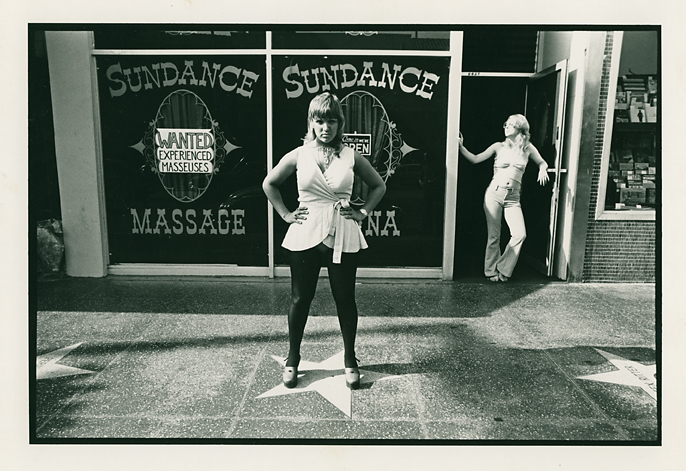 Sundance Massage, Hollywood Blvd.  , 1974. Vintage gelatin silver print. Signed with the photographer's credit stamp on the print back. Image measures 5 3/4 x 8 3/4inches. Inventory #PD009.   Terms  |  Inquire