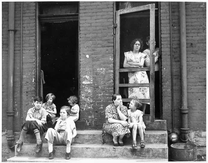 Pittsburgh: Scene in Heinz's Alley,   1938. Vintage gelatin silver print. United States Housing Authority credit stamp and date stamped August 19, 1938 on back. Image measures 7 1/2 x 9 3/8 inches. Inventory #PS0004.   Terms  |  Inquire