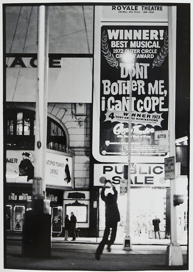 """Untitled [New York, [""""Don't Bother Me, I cant cope""""],   1973. Vintage Gelatin Silver Print. Credit stamp on back with negative number in pen. Image measures 12 7/8 x 9 inches. Inventory #C0838.  Terms  