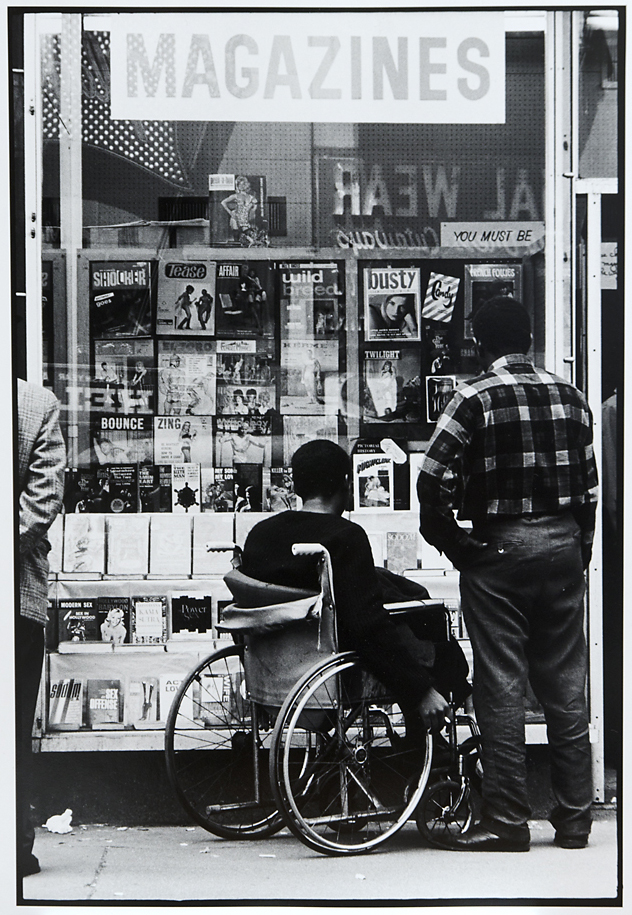Untitled [New York, men looking in magazine shop window],   1966. Vintage Gelatin Silver Print. Credit stamp on back with negative number in pencil. Image measures 13 1/4 x 9 inches. Inventory #C0752.  Terms  |  Inquire