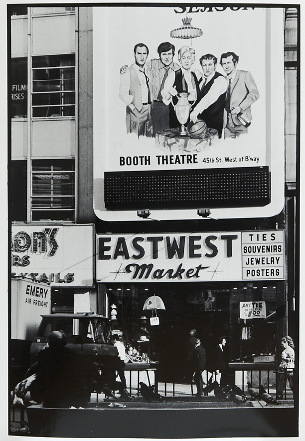 """Untitled [New York, """"EastWest Market""""],   1973. Vintage Gelatin Silver Print. Credit stamp on back with negative number in pen. Image measures 13 1/4 x 9 inches. Inventory #C0839.  Terms  