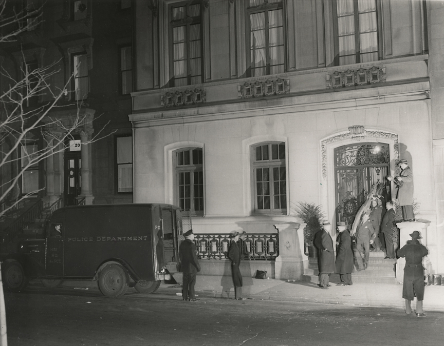 "Gambling raid. Police remove equipment,   1941. Vintage gelatin silver print. ""Credit Photo by Weegee"" round stamp on print back. Date stamped April 2, 1941. Image measures 7 1/2 x 9 11/16 inches. Inventory #C0784.  Terms  