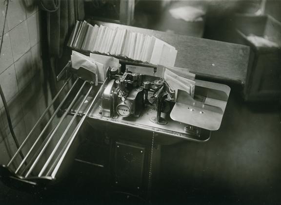 "Mail Sorting Machine,   ca. 1929. Vintage gelatin silver print. Image measures 4 7/8 x 6 5/8 inches. ""piet zwart rijksstraatweg 290 wassenaar holland credit"" stamp on back. Inventory #C0894.   Terms  |  Inquire"