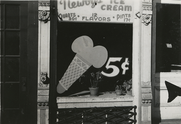 Bowling Green, Virginia (Ice cream shop),   ca. 1935. Vintage gelatin silver print. Image measures 2 1/4 x 3 1/4 inches. Inventory #PS0696.  Terms  |  Inquire