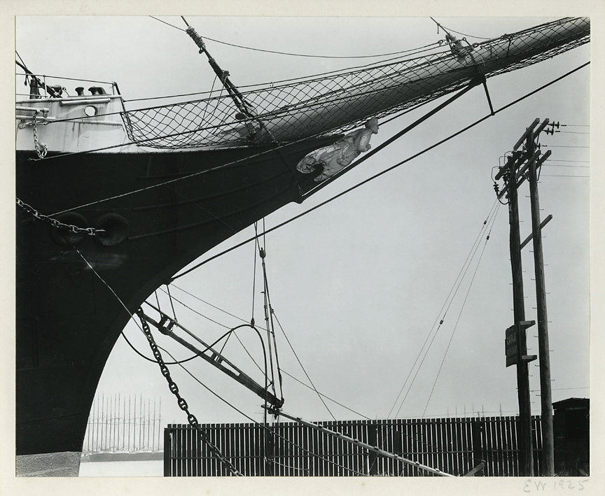 "Boats, San Francisco,   1925. Gelatin silver print, made 1940s. Image measures 7 1/2 x 9 3/8 inches. Initialed and dated in pencil mount recto. Signed in pencil on mount verso an inscribed in pencil by Weston ""Original on Palladiotype, Reprint"". Inventory #C1593.  Terms  