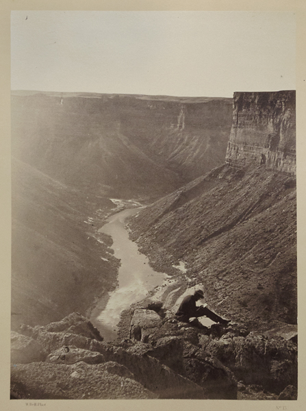 Grand Canon of the Colorado, Mouth of Kanab Wash, Looking West,   1872. Vintage albumen print. Image measures 10 13/16 x 8 inches. On a two tone Wheeler Survey mount. Photographer's credit, title and plate number 13 printed below image. U.S. Army Corps of Engineers credit and date on upper margin of mount. 20 x 16 inch mount . Inventory #A0260.  Terms  |  Inquire