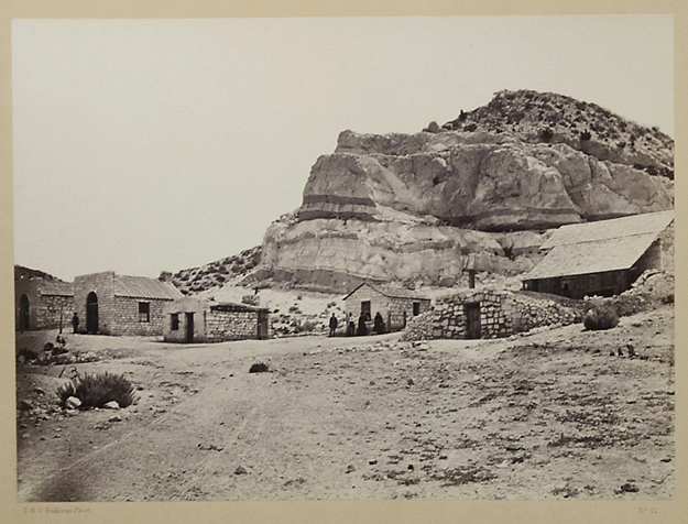 Water Rhyolites, Near Logan Springs Nevada,   1871. Vintage albumen print. Image measures 8 x 10 7/8 inches. On a two tone Wheeler Survey mount. Photographer's credit, title and plate number 13 printed below image. U.S. Army Corps of Engineers credit and date on upper margin of mount. 20 x 16 inch mount . Inventory #A0259.  Terms  |  Inquire