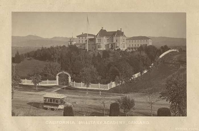 California Military Academy, Oakland,   ca. 1870s. Vintage albumen silver print. Image measures 3 1/2 x 6 inches. Titled and credit in lithographed tint block on mount. Inventory #A0203.  Terms  |  Inquire