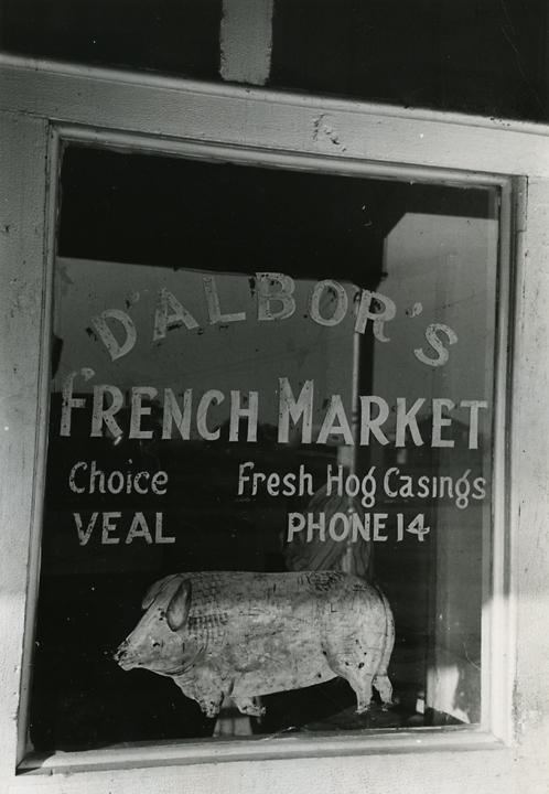 Window of meat market, New Iberia, La.   , 1938  ,   Vintage Gelatin Silver Print. FSA credit stamps on back. Image measures 9 9/16 x 6 9/16 inches. Inventory #C0698.  Terms  |  Inquire