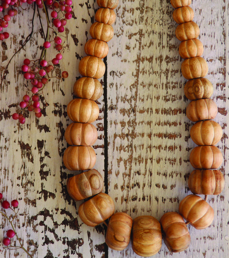 Natural Wood Carved Bead Necklace