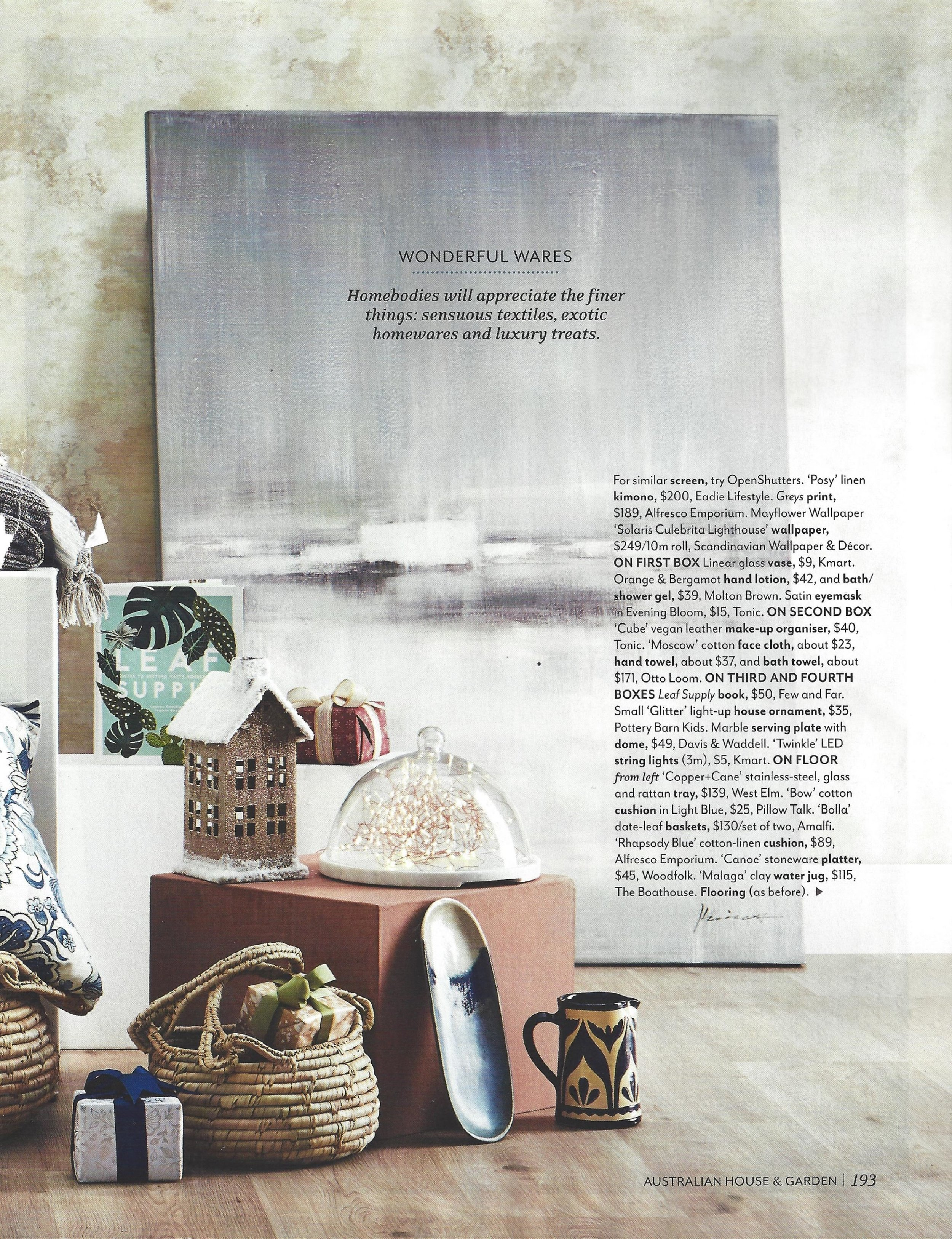 Our beautiful Midnight Blue Canoe Platter featured in Australian House & Garden.