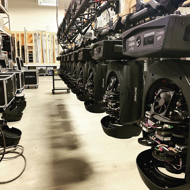 @clay.paky keeping our #mythos2 clean and ready for the next one! #shoplife #productionlife #allofthelights