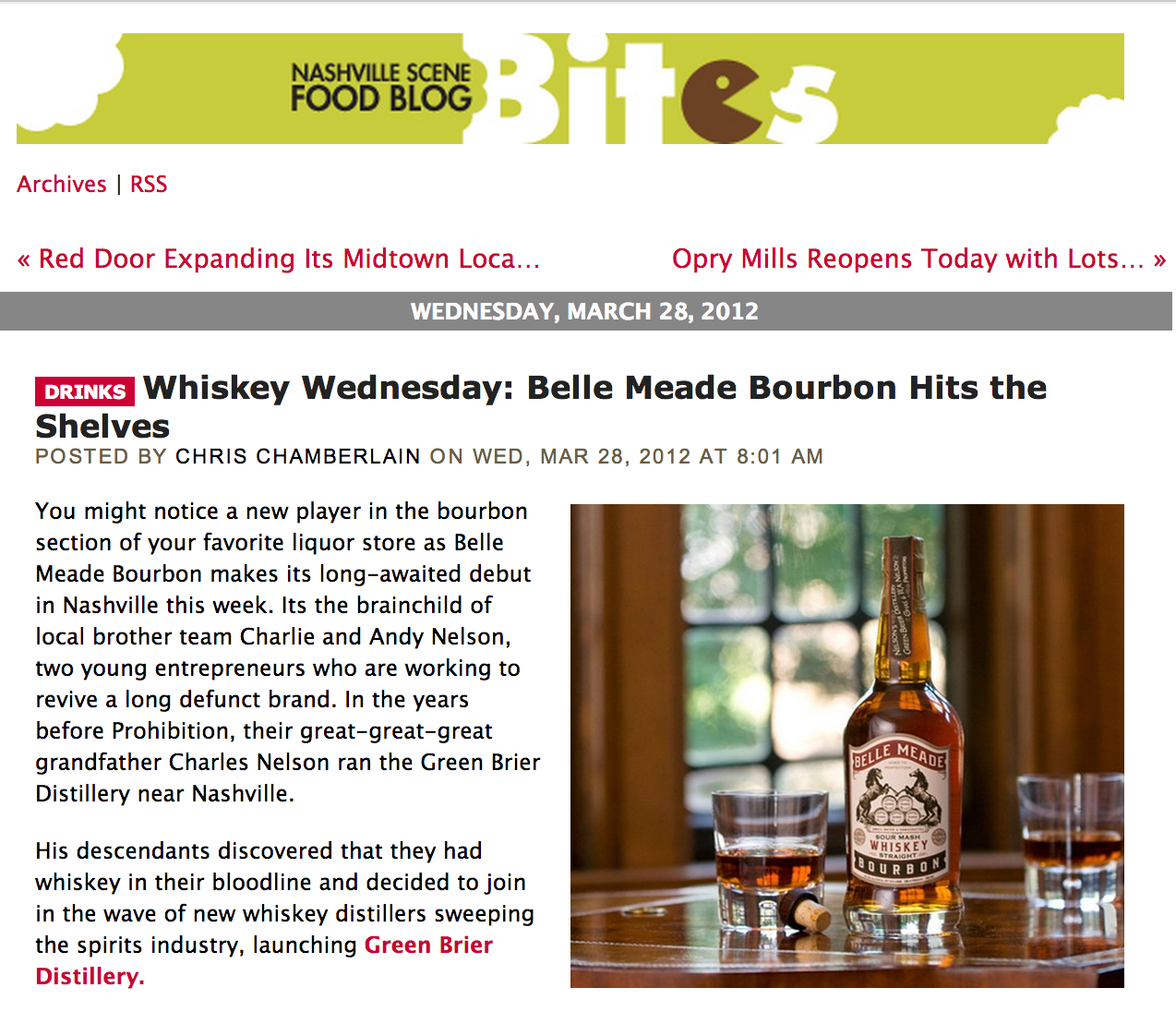 Belle Mead Bourbon Featured in Bites Blog