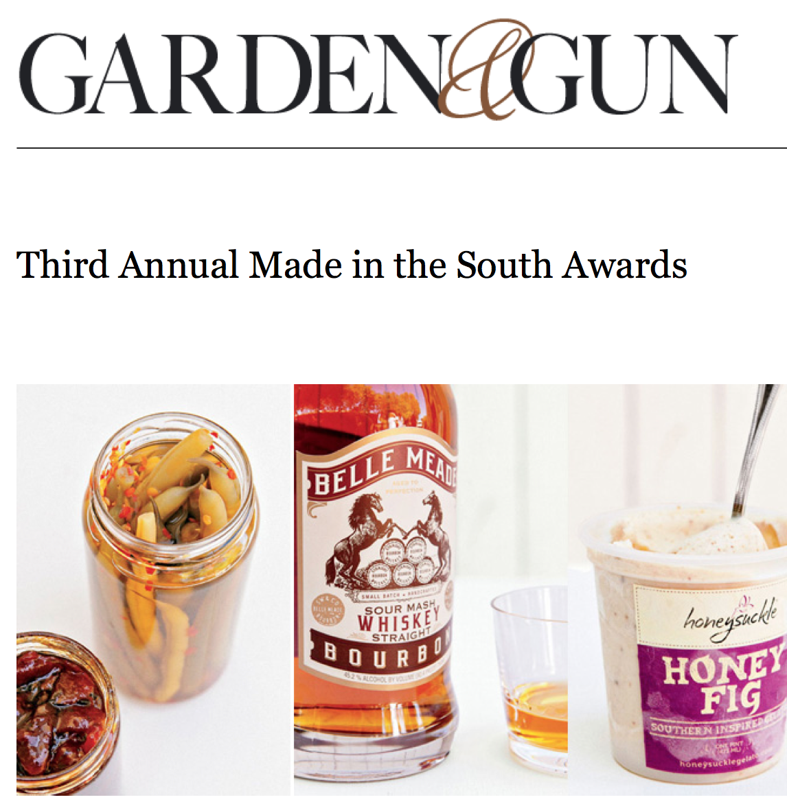Belle Meade Bourbon featured in Garden & Gun's Third Annual Made in the South Awards