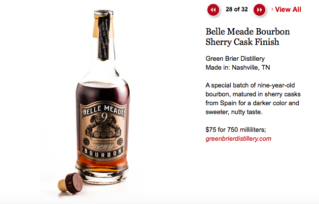 Belle Meade Bourbon Sherry Cask Finish Wins Southern Living Magazine's 2015 Food Awards
