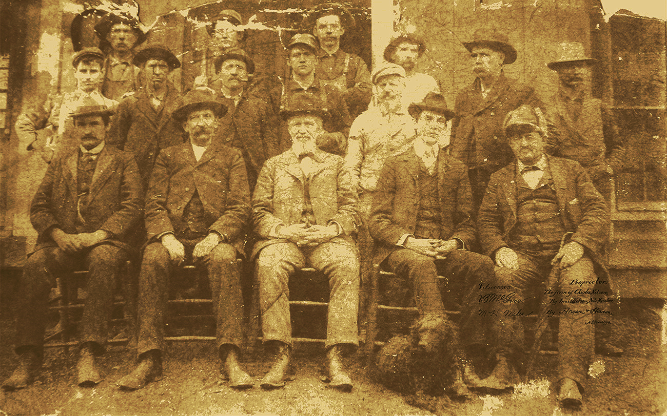 Charlie Nelson and the rest of the Green Brier Distillery family circa 1865.