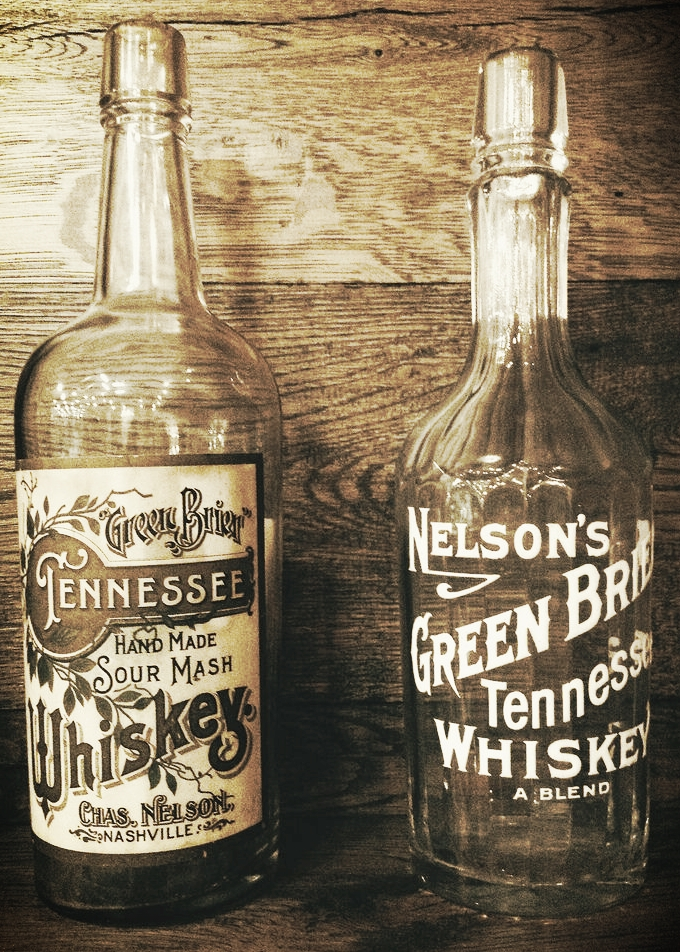 Original bottles of Nelson's Green Brier Tennessee Whiskey.
