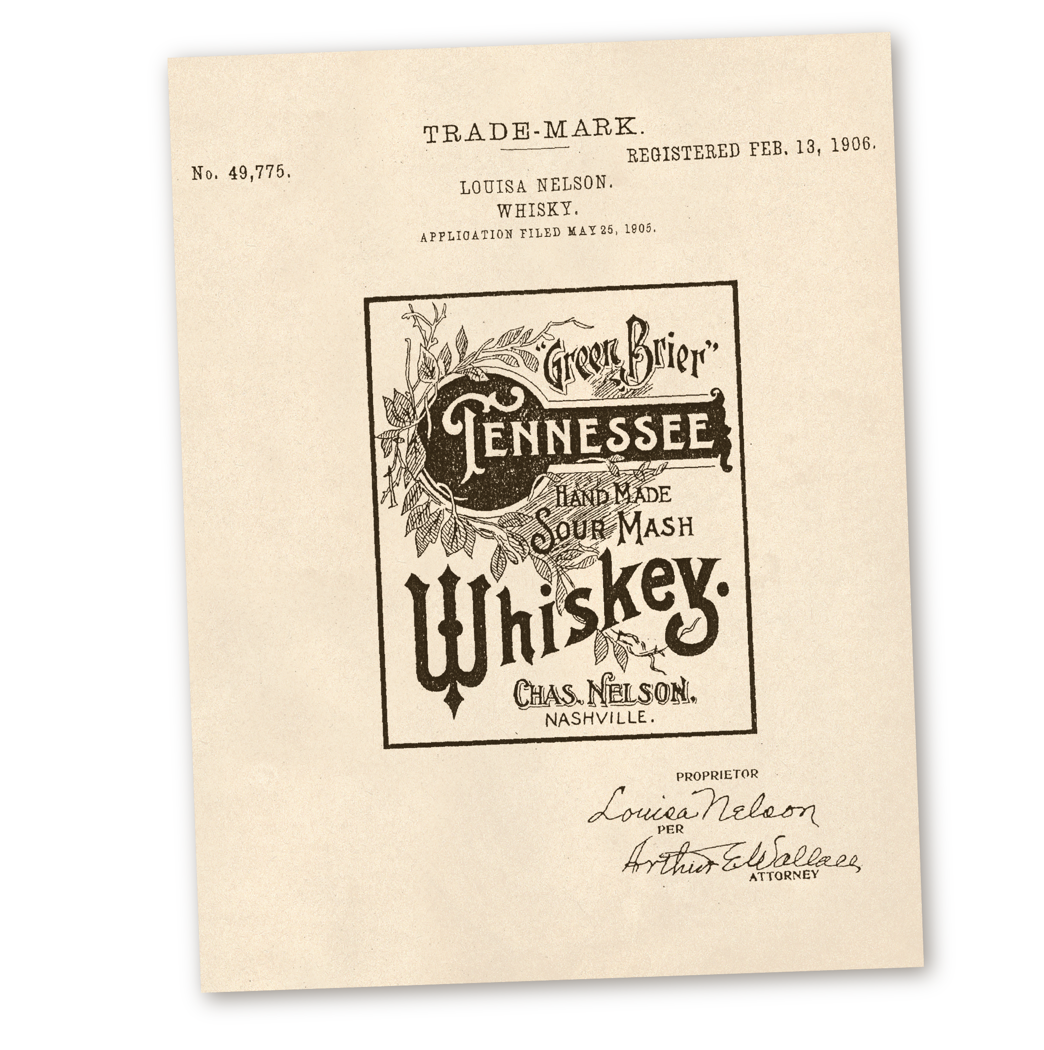 Nelson's Green Brier Distillery Tennessee Whiskey Trademark