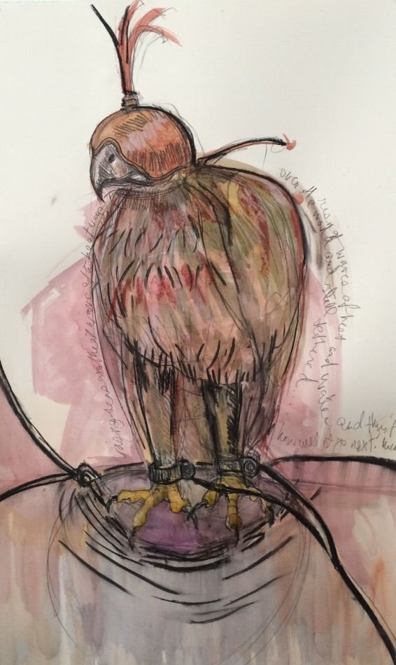Tethered II,  2015 watercolor, pastel, charcoal 40 x 26 inches