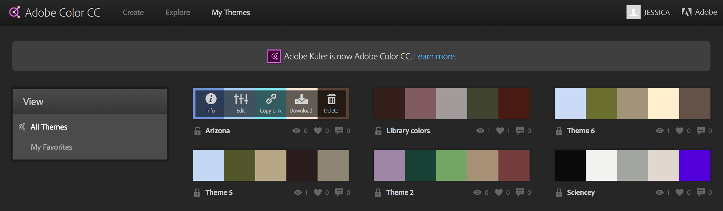 Log onto color.adobe.com to access your new themes