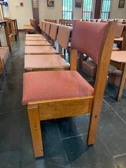 Fifty Days for Fifty Chairs: Eastertide Project - The present chairs in the nave of the church have passed their useful life. Our project for the season of Eastertide, the fifty days between Easter Day and Pentecost, is to replace them with new, better quality chairs. An anonymous benefactor has offered to supplement our own giving by matching chair for chair. We therefore need to raise funds for only fifty chairs to gain the one hundred we need. $250 will purchase one chair with a small brass plaque, which can bear a short line of dedication (eg in memory of John Smith 1945-2019, or, in thanksgiving for the marriage of John and Mary Smith 1950 or for blessings received, Mary Smith, or St Cuthbert of Lindisfarne etc). If you would like to purchase one or more chairs please contact the Rector or the parish office or donate below. If we succeed in raising the funds before Pentecost, we will have delivery of the whole set of chairs by the Feast of Dedication in September/October this year (celebrating the day in 1978 when the church was consecrated).Thus far we have over 43 dedicated chairs committed. We will report on progress in an ongoing way throughout Eastertide.