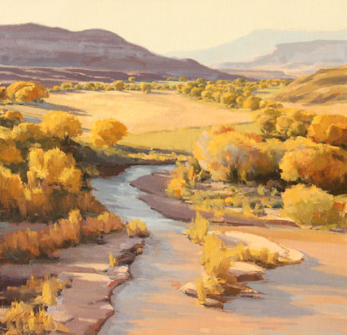 Autumn Along the River, 24x24, Oil on Linen,  LaFave Gallery