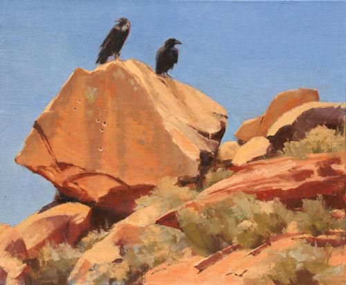 Ravens, 20x24, Oil on Line