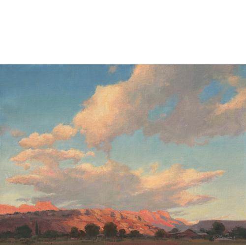 Sundown over Watchman, 14 x 18, Oil on Panel, Del Monte Fine Art