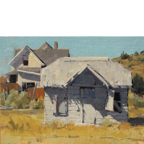 Two Houses, 10x12, Oil on Linen Panel, LaFave Gallery