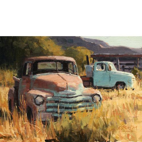 Two Trucks, 12 x 16, Oil on Linen Panel