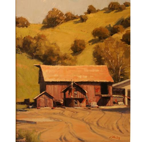 Red Barns, 20 x 16, Oil on Linen Panel, Del Monte Fine Art
