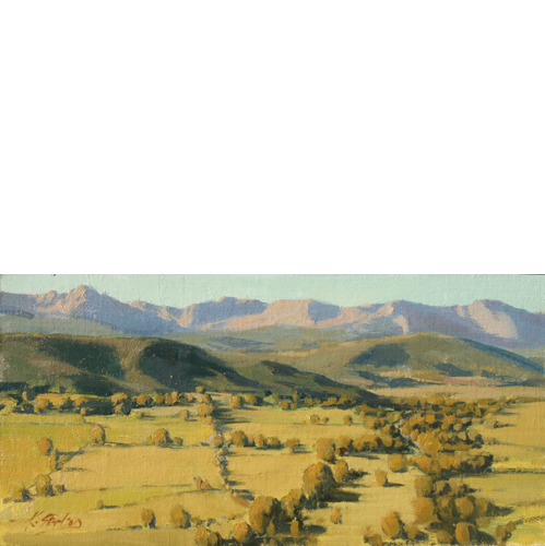 """High Country Pastures, 8"""" x 16"""" , Oil on Linen"""