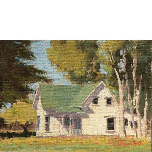 """Green Roof, White House 6""""x8"""", Oil on Linen"""