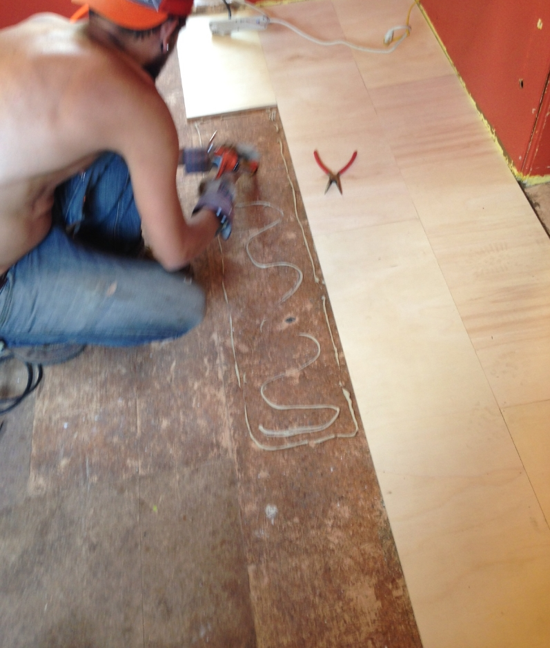 Austin inventing the sweetest new flooring.