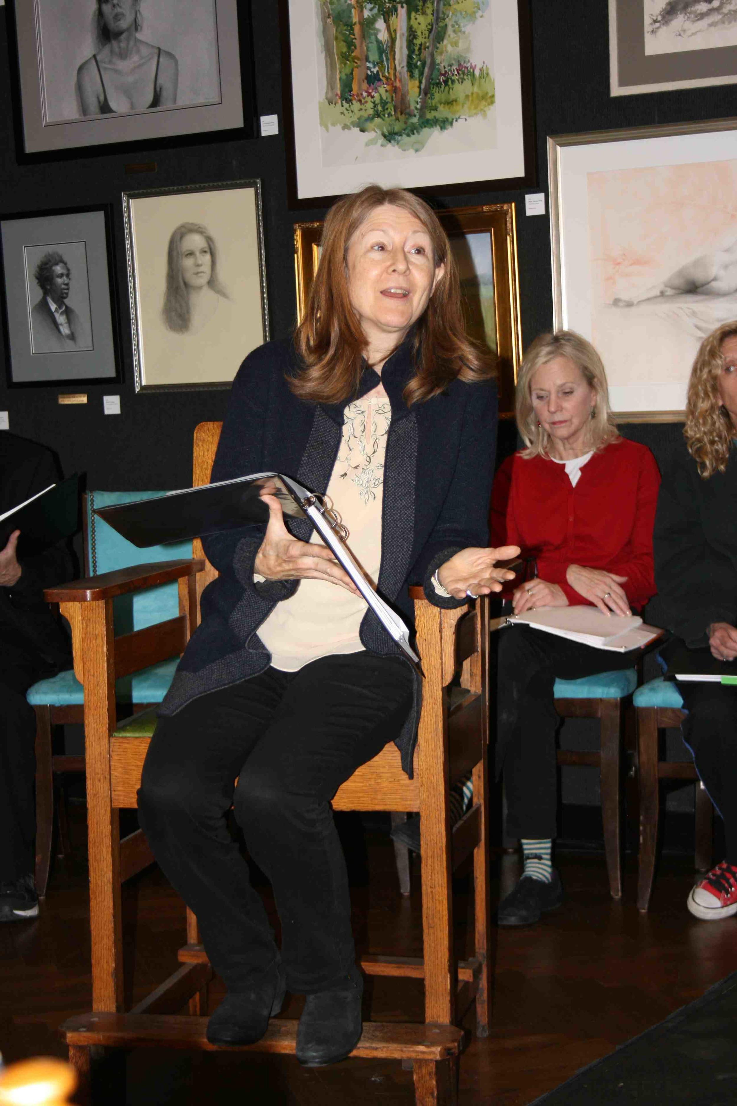 """Rehearsing """"Judith Shakespeare Has Her Say"""" : Mia Dillon, Carolyn Marble, and Katie Sparer. Dec. 15, 2014 at The National Arts Club. Photo by Mark Graham."""
