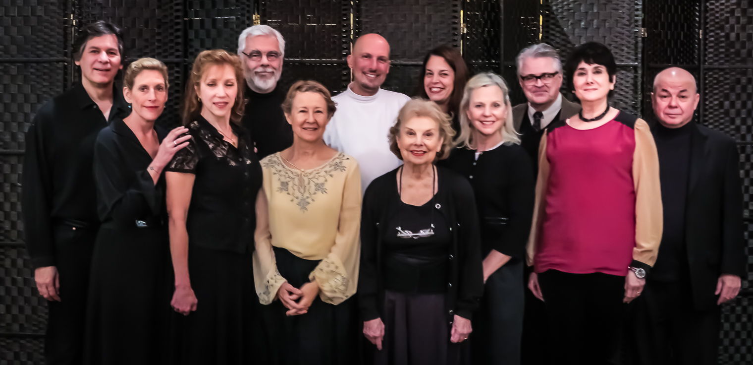 """The Cast, Director, and Author of """"Judith Shakespeare Has Her Say"""": Sean Hannon, Katie Sparer, Emilie Roberts, Sam Mink, Mia Dillon, Mark Frattaroli, Betty Jinnette, Lucy Babbitt, Carolyn Marble, Mark Graham (Director), Mary Jane Schaefer (Playwright) and Richard Leonard. Photo by Bruce Allan for The National Arts Club, Dec. 15, 2014."""