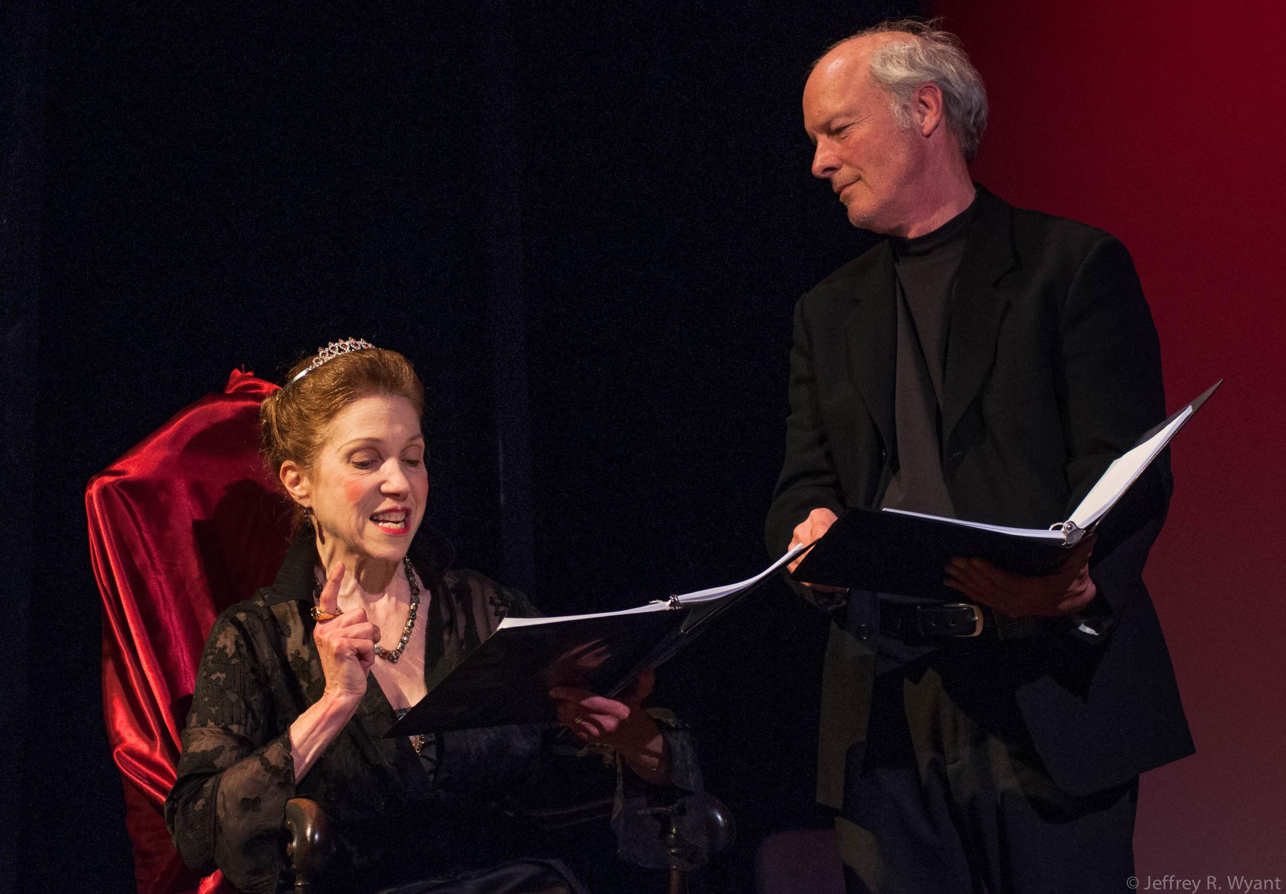 Emilie Roberts as Queen Elizabeth; John O'Hern as Sir Robert Cecil. All photos by Jeffrey R. Wyant.