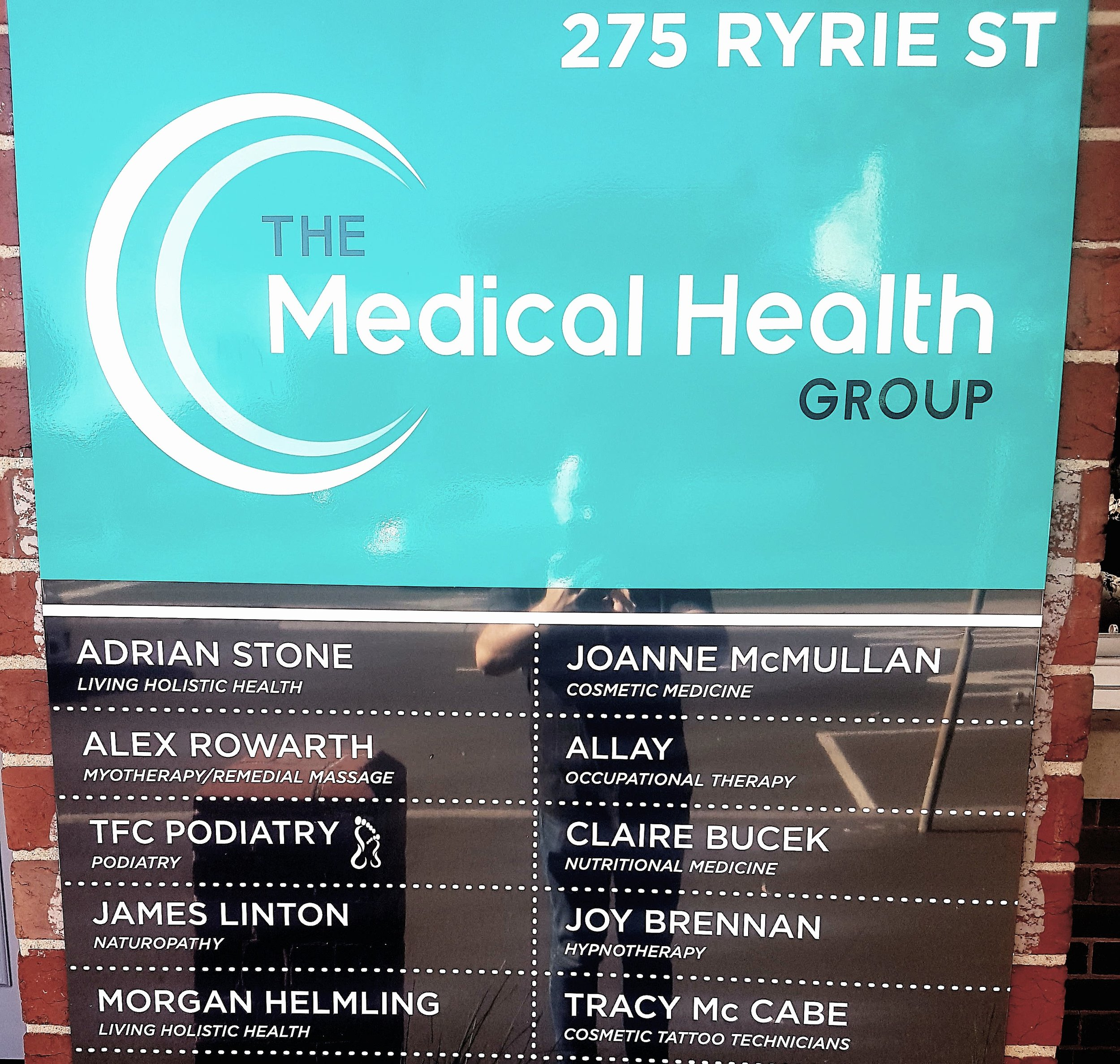 Our signage outside, on Ryrie Steet