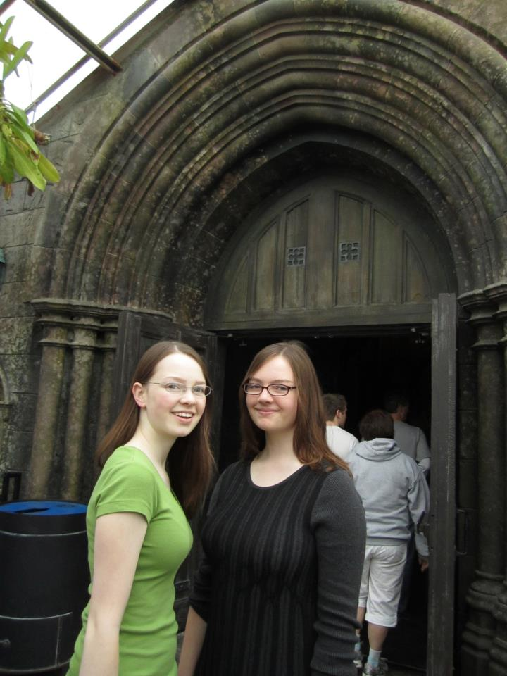 Me and my sister outside of Hogwarts in the Orlando park back in 2012. Adorable.