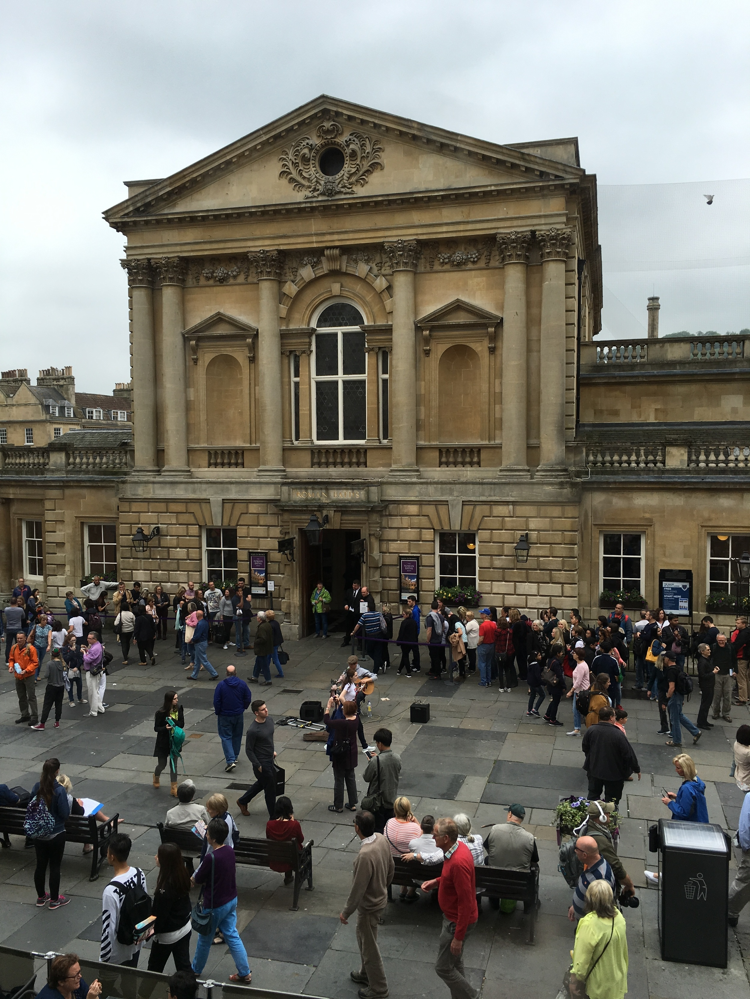 The lovely view of the Roman Baths Museum from the upper floor of the Roman Baths Kitchen.